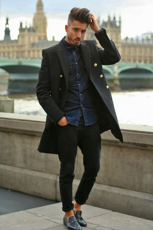 Nice-amount-of-dark-with-simple-denim-shirt.-The-large-buttons-on-the-coat-Zara-pop-with-the-shoe-buckles
