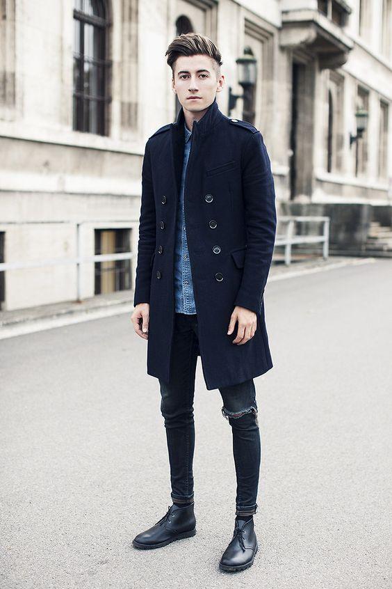 デニムシャツ×チェスターコート