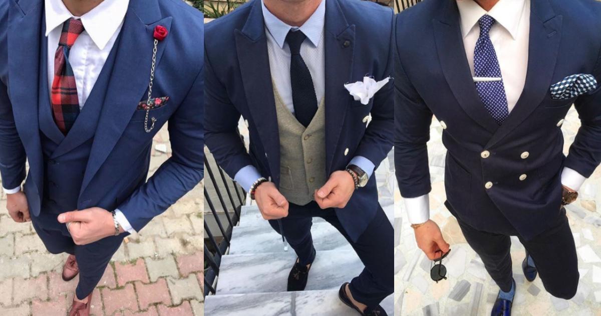 ネイビースーツのネクタイ・結婚式では遊び心のあるコーデがお洒落!