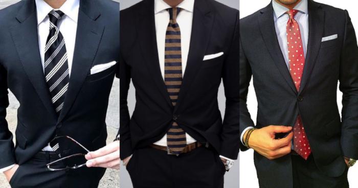 黒のスーツに似合うネクタイの色の組み合わせ【28パターンご紹介】