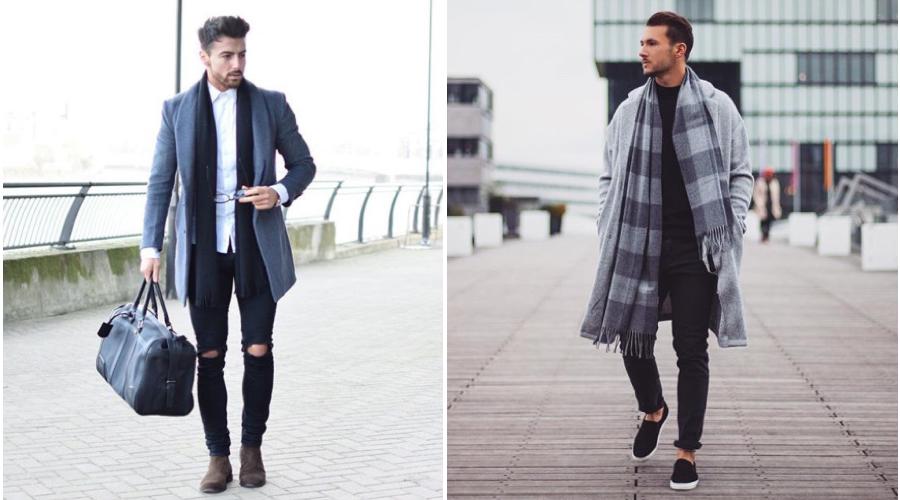 グレー コート マフラー 色 メンズ