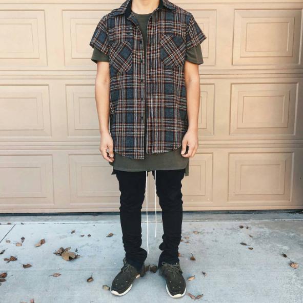 半袖,チェックシャツ,メンズ,コーデ,夏