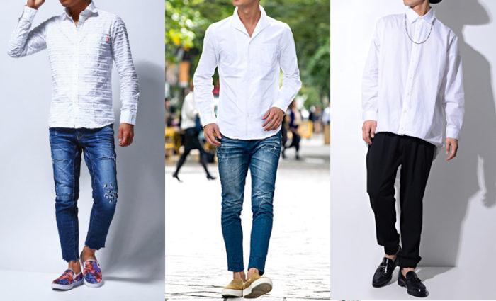 白 シャツ コーデ メンズ