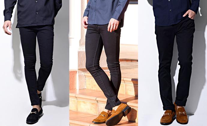 ネイビーシャツに合う黒パンツ