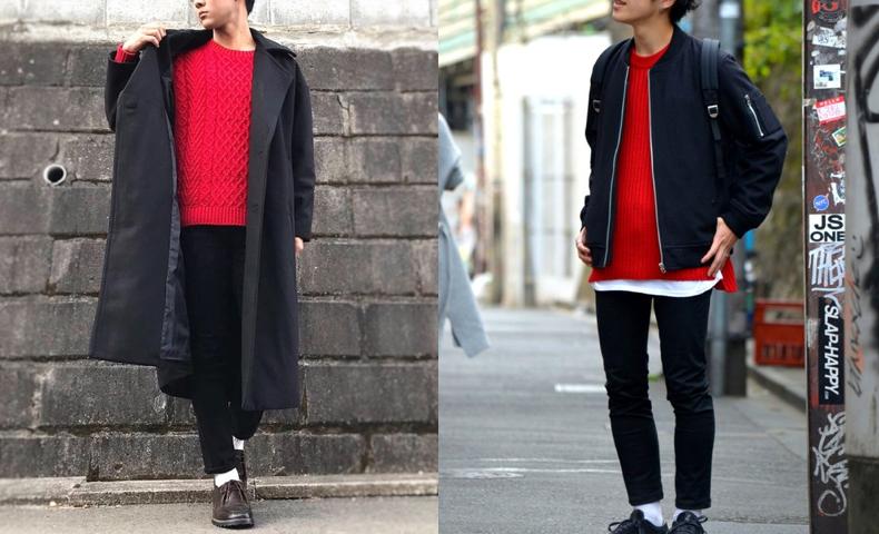 赤 ニット セーター メンズ コーデ