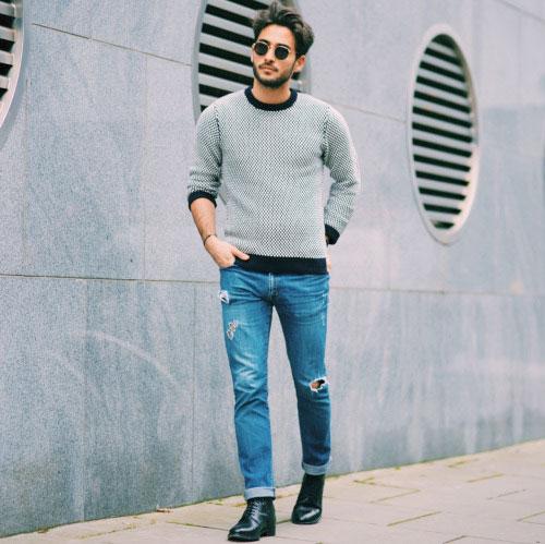 ニット,セーター,サイズ感,メンズ,着こなし
